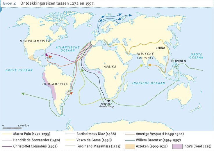 Ontdekkingsreizigers tussen 1272 en 1597 en hun routes naar de vele ontdekkingsreizen. Bron memo