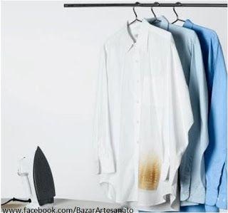 Como tirar manchas de ferro de passar 1. algodão embebido com água oxigenada 10 ou 20 volumes. Depois, lave normalmente e deixe secar. 2. Coloque vinagre quente com bastante sal em cima da mancha, deixe secar e lave. A roupa ficará como nova!