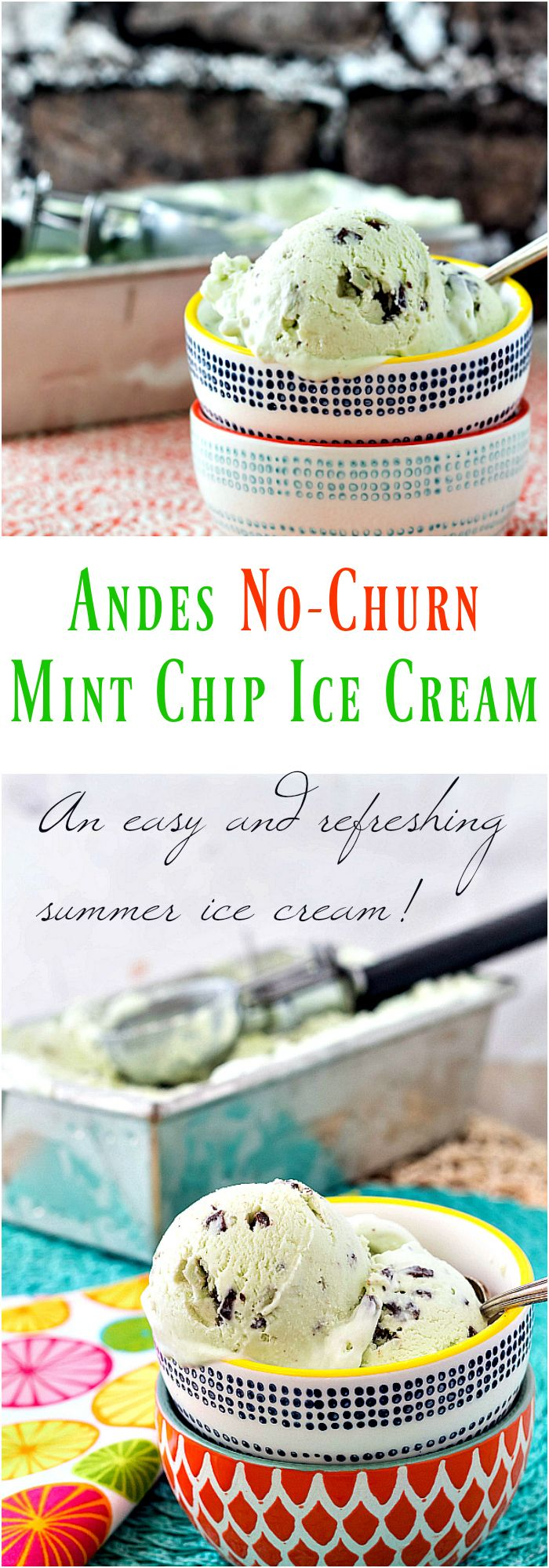 It took me a long time to jump on the no-churn bandwagon, but now that I'm here, I am so happy! This Andes Mint Chip Ice Cream (No-Churn) recipe is smooth, creamy, cool, and the perfect amount of minty for a hot summer's day! It only takes about 5 minutes to whip up, so make some and it will be ready for you the next day! | pastrychefonline.com