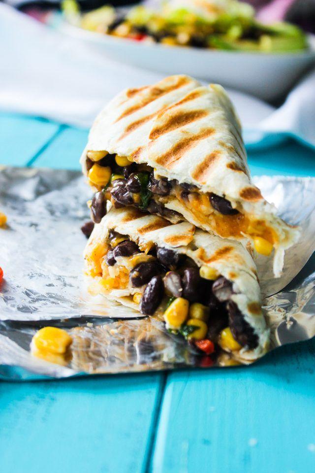 Crispy black bean and rice burritos.
