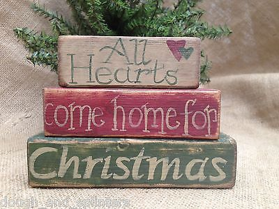 Primitive All Hearts Come Home For Christmas Winter Shelf Sitter Wood Block Set
