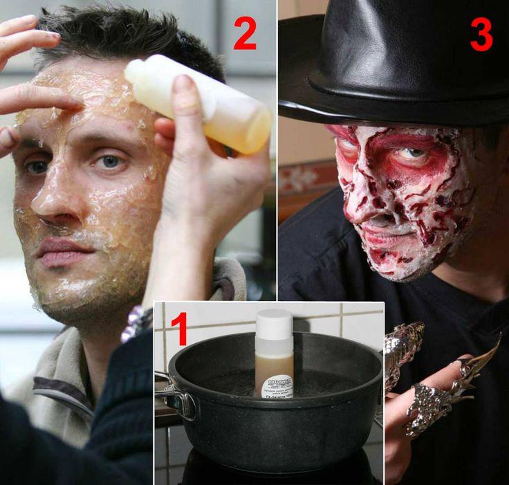 Stupisci i tuoi amici con il trucco Freddy Krueger! Prova le gelatina per creare ferite e ustioni sulla pelle: http://www.loacenter.com/catalogsearch/advanced/result/?name=gelatin&short_description=&sku=&price[from]=&price[to]= + sangue finto: http://www.loacenter.com/trucco-make-up/special-effects/sangue-finto.html