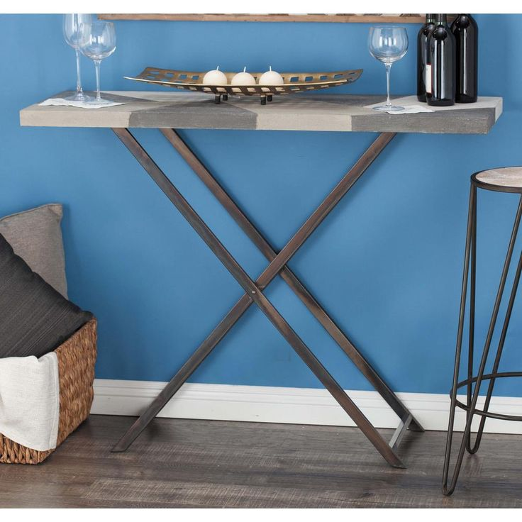 Modern Iron and MDF Console Table with Rustic Tabletop, Multi