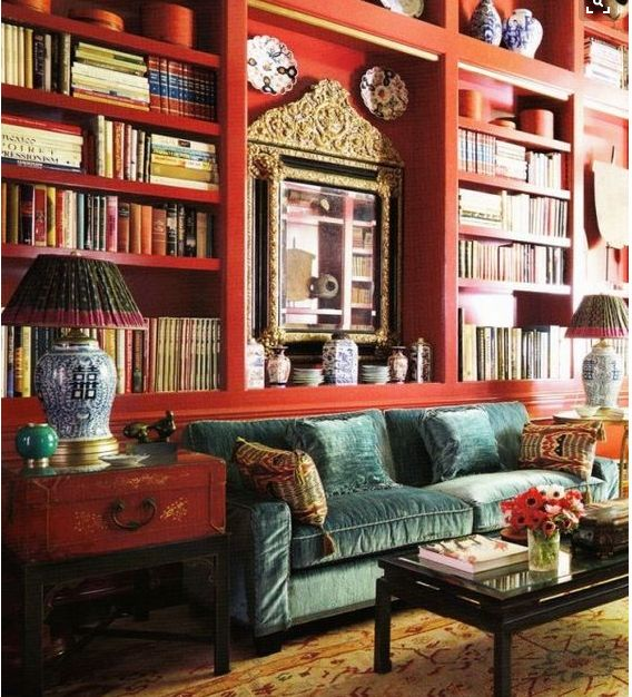 A chic red library by Beverly Field.