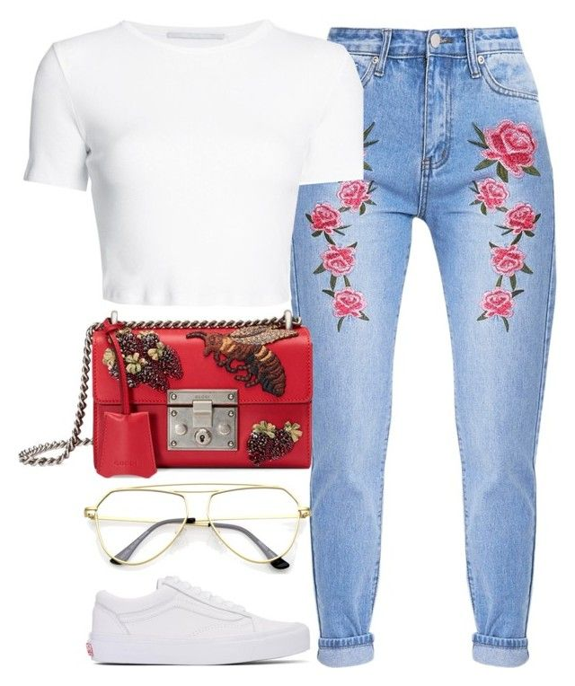 """""""Roses Are Red"""" by monmondefou ❤ liked on Polyvore featuring Rosetta Getty, Gucci and Vans"""