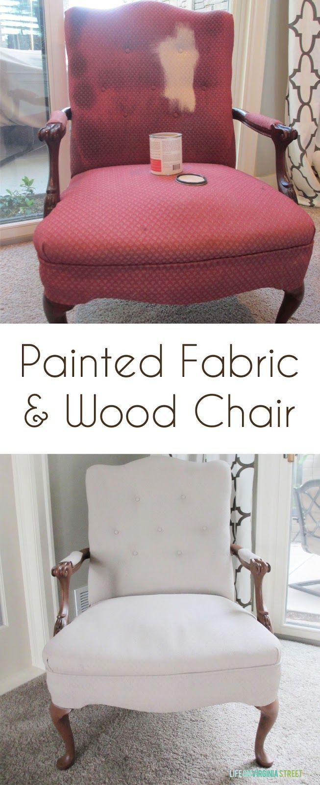 Painted fabric and wood chair using chalk-based paint and antiquing wax - such an easy update!