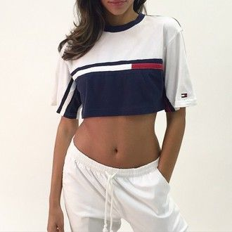 top tommy hill figure sports brands sportswear adidas nike summer outfit crop tops tommy hilfiger