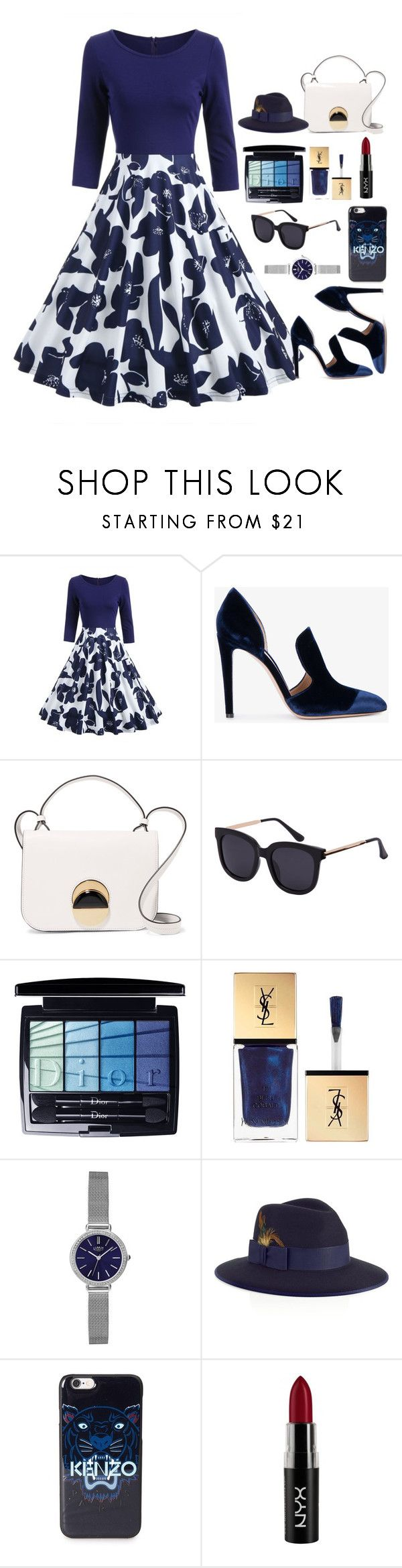 """""""VinTaGe fAsHion"""" by alonelover ❤ liked on Polyvore featuring Gianvito Rossi, Marni, Christian Dior, Yves Saint Laurent, Limit, Christys', Kenzo, NYX, vintage and vintagefashion"""
