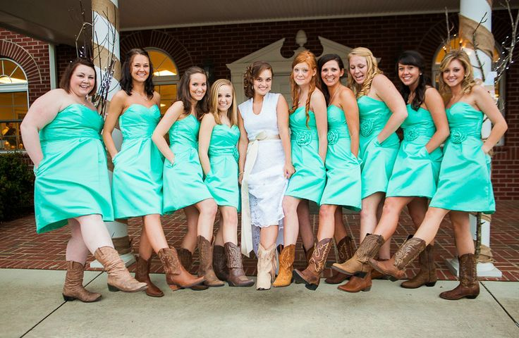 green bridesmaid dresses with cowboy boots.. love the dresses