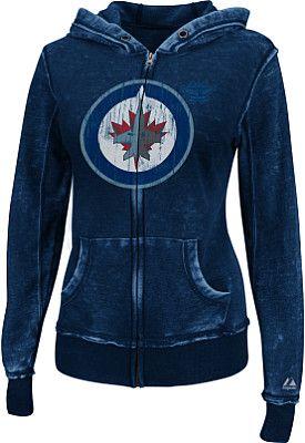 Majestic Winnipeg Jets Women's Delayed Call Full Zip Burnout Fleece Hoodie - Shop.NHL.com