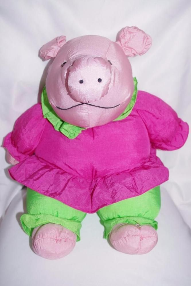 Vintage Pig Plush Toy Puffalump Style Nylon Stuffed Animal Plush Creations Brand #PlushCreations