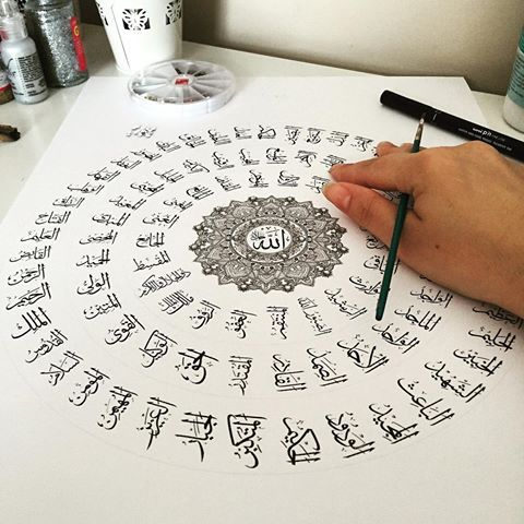 Doing a few more originals of this piece with different coloured borders (as requested) if you would like to purchase one let me know. I don't think I'll be making anymore after these. '99 names of Allah' #illustration #arabiccalligraphy #islamicart #art #mandala #design #4rabic #illustration #artoftheday #calligraphy #picoftheday #sharingart