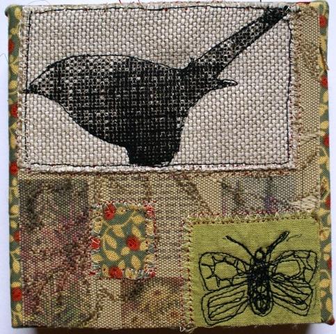 '`Bird Print' mixed media textile on canvas (sold)