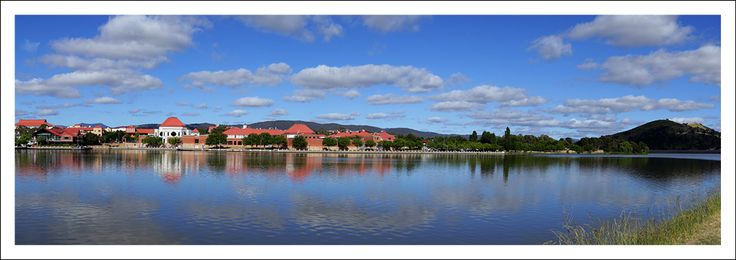 """Lake Tuggeranong in Canberra's south looking towards Lake Tuggeranong College for yr11/12 students. The name Tuggeranong is derived from an Aboriginal Ngunnawal expression meaning """"cold place""""."""