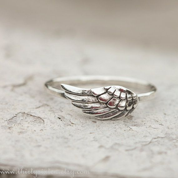 Angel Wing Ring, Feather Jewelry, Sterling Silver Jewelry, Stacking Ring