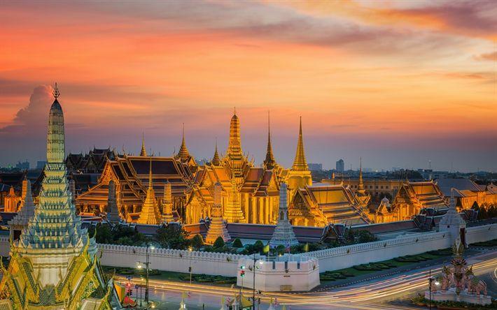 Download wallpapers Bangkok, Royal Palace, Temple of the Emerald Buddha, attractions, Thailand, Bangkok landmarks