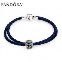 Bracelet Pandora Prix Pas Cher Bleu Nuit Laisse Cuir Complète p0071,20