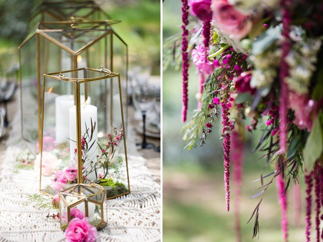 Dreamy bohemian wedding inspiration glass domes glasses