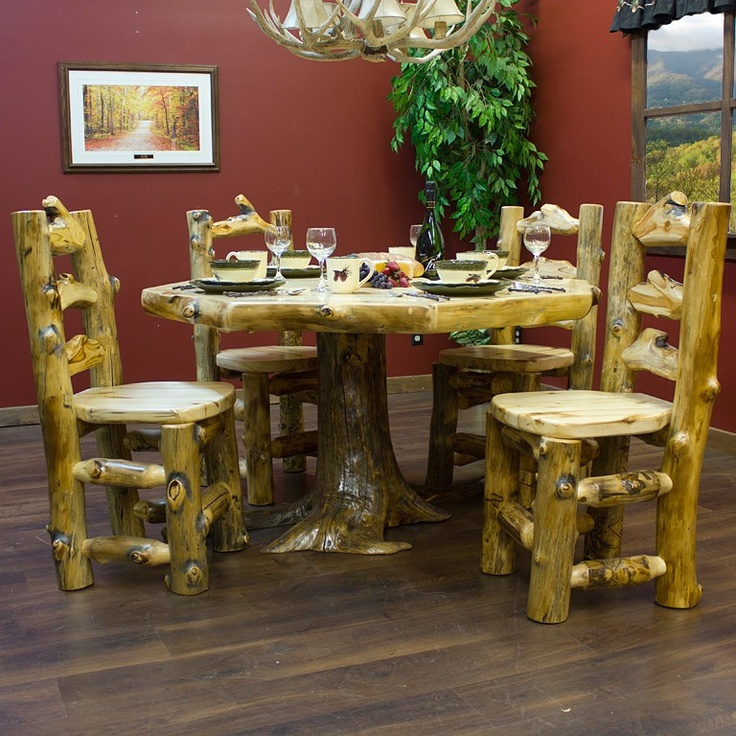 Aspen Log Octagon Stump Dining Table Shown With Matching Side Chairs   Rustic Dining