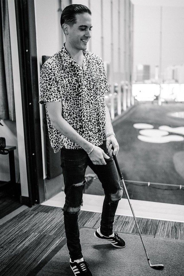 G-Eazy wearing  Saint Laurent Animal Print Shirt, Adidas Gazelle Sneakers