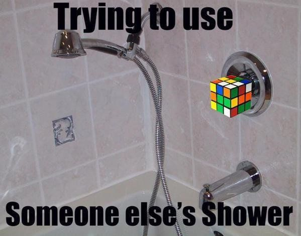 Trying to use someone else's shower