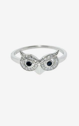 Sterling Silver Pave Owl Ring