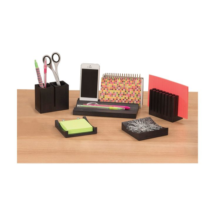 Safco Products Wood Desk Organizer Set - 3282BL