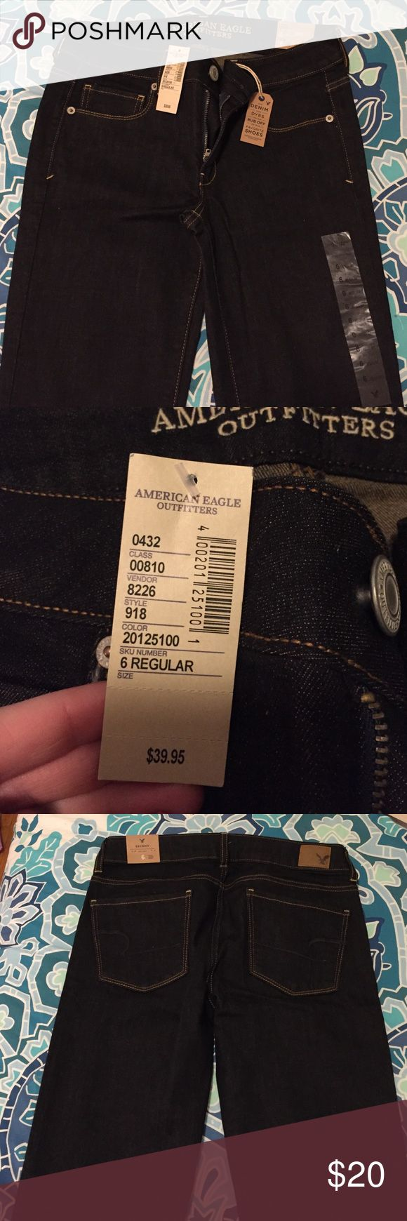 Size 6 American Eagle Skinny Jeans NWT. Never worn, too big for me now. Flawless condition, as if being bought from the store. Dark wash American Eagle Outfitters Jeans Skinny