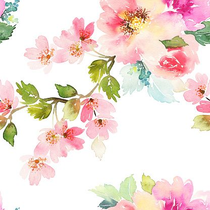 Patrón sin costuras con flores acuarela. Colores suaves. - ilustración de arte vectorial