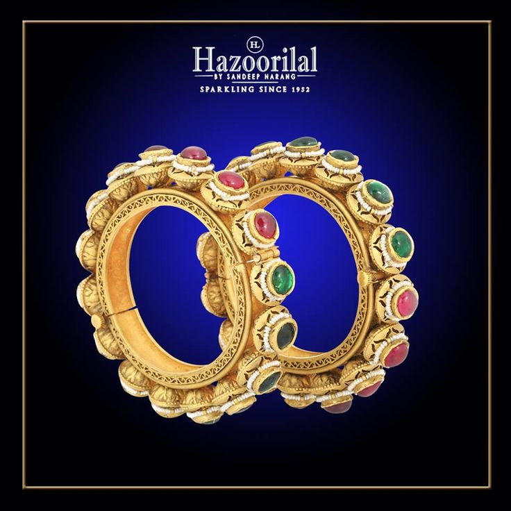 Inspired by the eternal and mystical heritage of India , these bangles are sure to last for generations. #HazoorilalBySandeepNarang #Traditional #Ruby #Emerald #Pacheli #Pearls #HeirloomJewellery #BridalJewellery #Hazoorilal