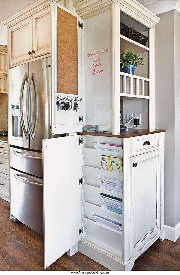 Maximizing space. Built into a narrow 3-1⁄2-in. recess in the side of this already storage-packed kitchen cabinet is a place for daily messages, etc.