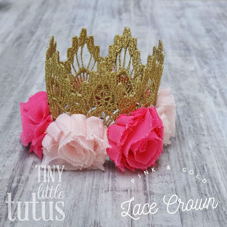 Gold Crown with Hot Pink & Light Pink Flowers. The perfect birthday crown and one of our most popular color combinations. Order a matching tutu as well if you desire... the two together are absolutely fabulous! Custom color requests will all be welcome.  Visit us on Facebook or Etsy for custom orders. Facebook link below photo, Etsy link on our main page. Fast shipping available.