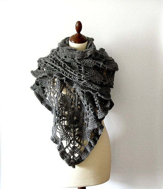 Grey Lace Shawl Stole Crochet Lace Scarf by callmemimi on Etsy