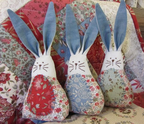 Lots of little ears and bodies ready for stuffing Just add some cute little faces and tummy spots These cute little bunnies are available as a kit, using the same fabric.....'La Belle Fleur' by French General, for $14.50. The kit...