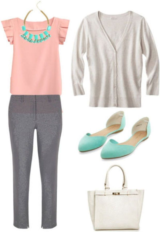 Grad school outfit for the workplace: Grey trousers, pink blouse, taupe cardigan, teal flats, cream handbag, statement necklace
