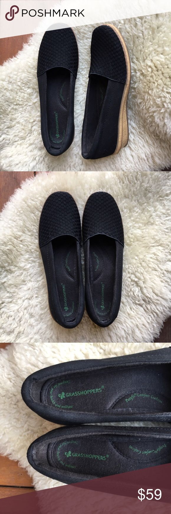 """{Grasshopper} Black Crosshatch Canvas Wedge 7.5 BNWOT! Super cool (figuratively AND literally)! Comfortable, on trend style. Super cushion technology. Woven like texture lets Air breeze through. Perfect for summer! 1"""" wedge. Offers warmly welcomed! Grasshoppers Shoes Wedges"""