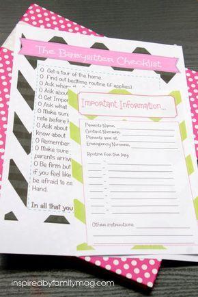 25 Best Ideas About Babysitter Checklist On Pinterest