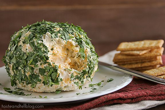 Southwestern Cheeseball - 8 oz shredded sharp cheddar cheese, 8 oz cream cheese, 2 T butter, 1/4 c finely diced onion, 1/4 t garlic powder, 4 oz can chopped green chiles, chopped cilantro