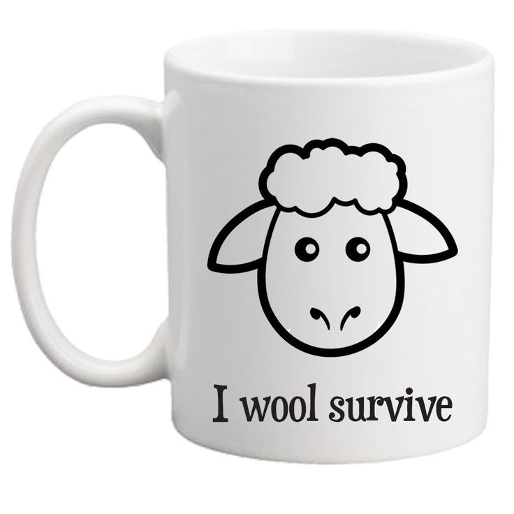"I Wool Survive Funny Ceramic Coffee Mug for Knitters Crocheters Artists or Crafters. Looking for a little knitting humor? Here is the perfect coffee mug is for knitters and crocheters alike, ""I wool survive"". Makes a wonderful gift for all fiber enthusiasts & it's just perfect for the office too. This ceramic mug is white with black vinyl lettering. The commercial vinyl is very strong and will not come off with heat from your coffee or tea but it does need to be hand washed which takes…"