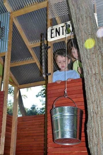 bucket and pully system. I'd also connect one to the patio and have a basket of goodies sent up.