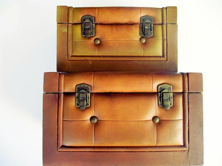 Ξύλινα μπαουλάκια με επένδυση από δέρμα αποθηκευτικά κουτιά στο  http://amalfiaccessories.gr/home-decor/