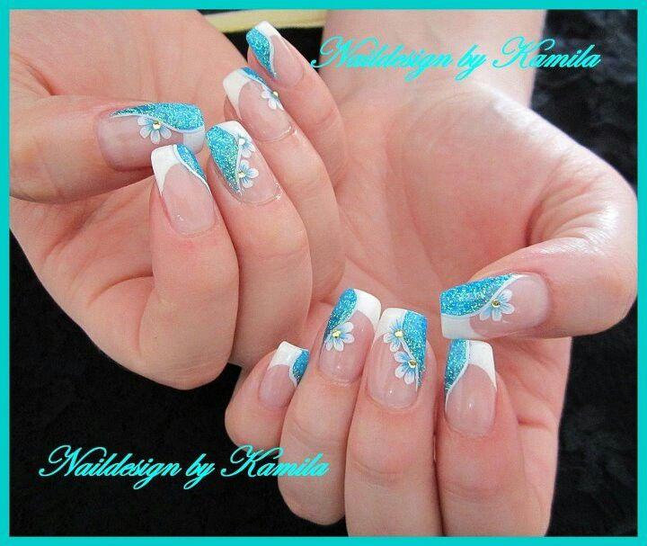 French bianco azzurro glitter fiori