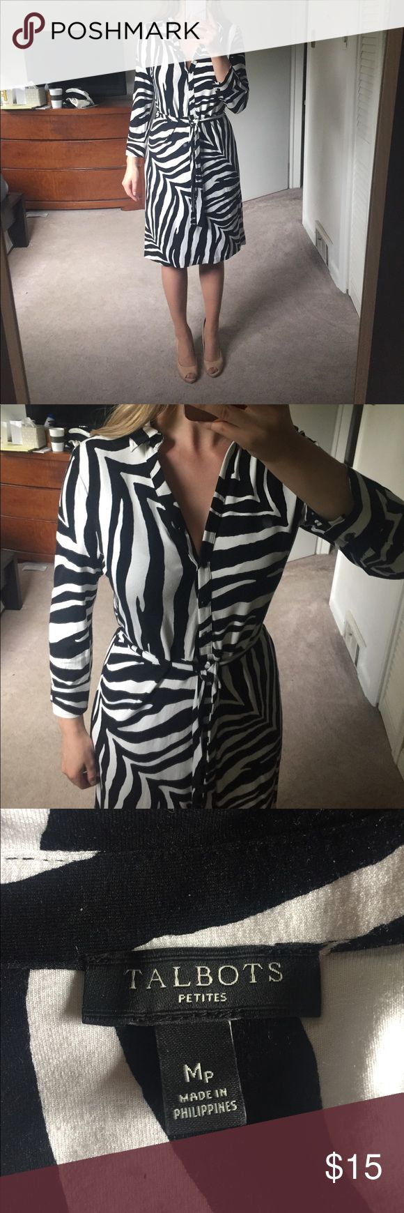 Talbots Medium Petite 3/4 sleeve Zebra Print Dress Gorgeous, bold zebra print dress. Comes to slightly past knee on 5ft 4 inch owner,  has a waist tie, buttons from waist up. Worn once, slight yellowing that is barely noticeable and is near waist. Talbots Dresses Long Sleeve