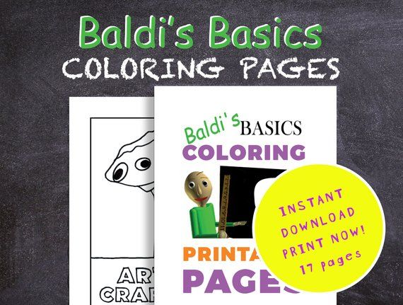 Baldis Basics Coloring Pages Printable Pdf Digital Download