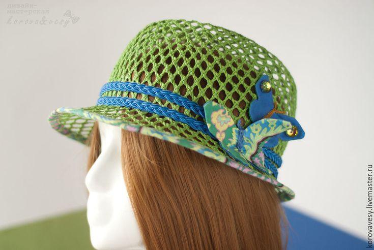 """Купить """"Бабочки в голове"""" - ярко-зелёный, шляпка, федора, соломенная шляпа, зеленая шляпа"""