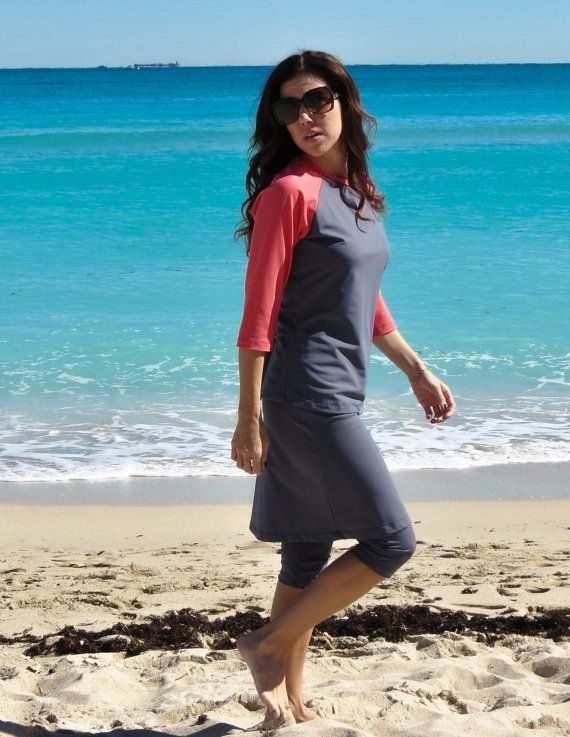 SWIM SKIRT with attached capri ~ provides modest UV coverage for swimwear and…