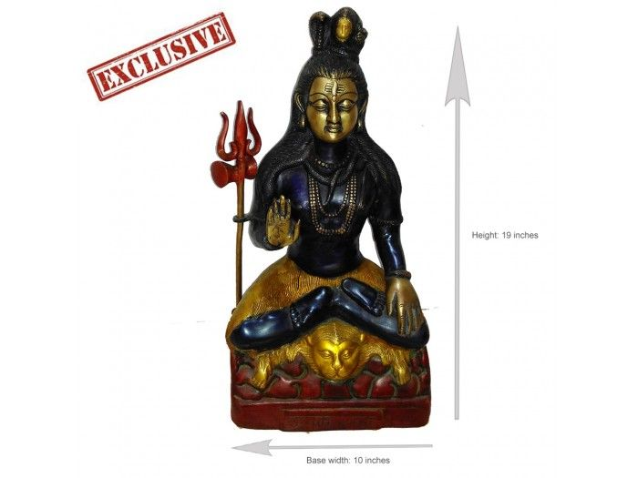 Lord Shiva Statue Blessing in Exotic Finish