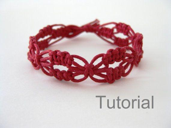 Macrame pulsera patrón rojo Lacy Macrame pulsera por Knotonlyknots