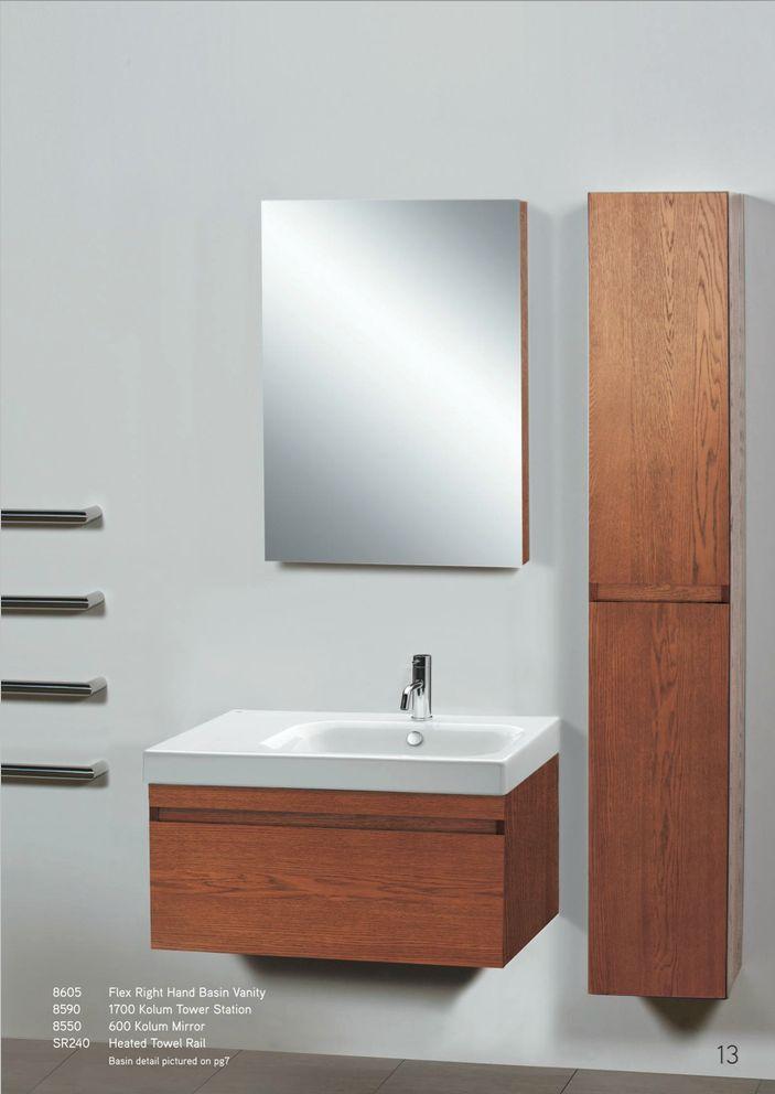 Newtech - Flex right hand basin vanity, Kolum tower station, Kolum Mirror & heated towel rail