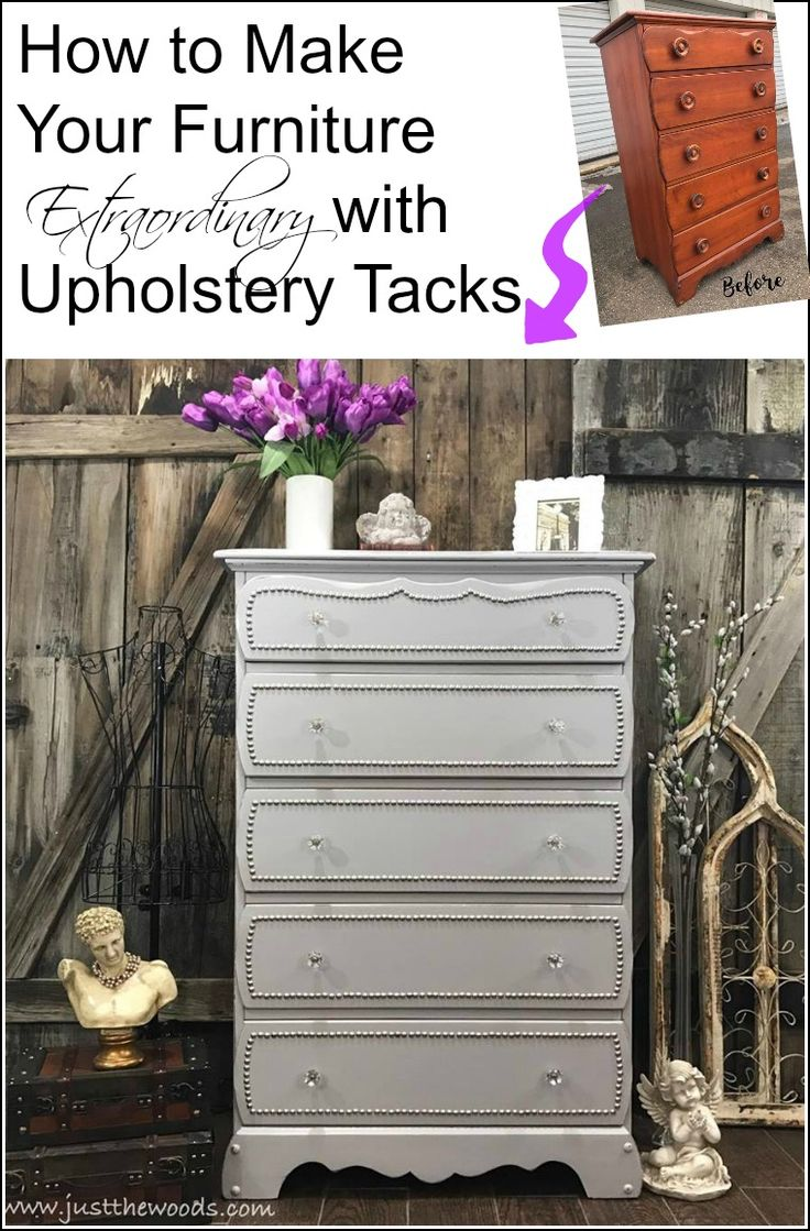 take your painted furniture to the next level with nail head trim. By adding upholstery tacks to you painted dresser you can give it a whole new look.
